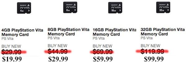 Цены на карты памяти PS Vita снижаются