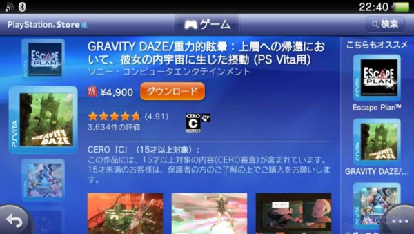 Средняя оценка Gravity Rush в японском Playstation Store